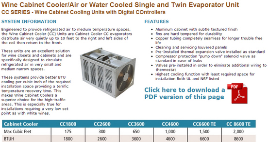 Wine Cabinets Cooling Systems - CC Series Product Specifications
